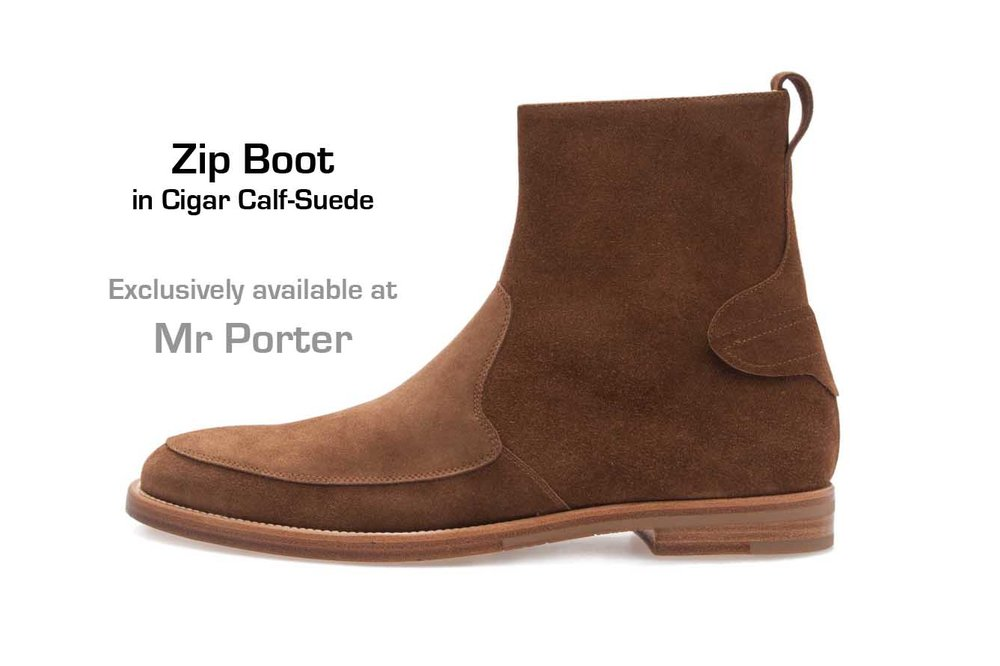 Zip Boot in Cigar Calf-Suede (profile)