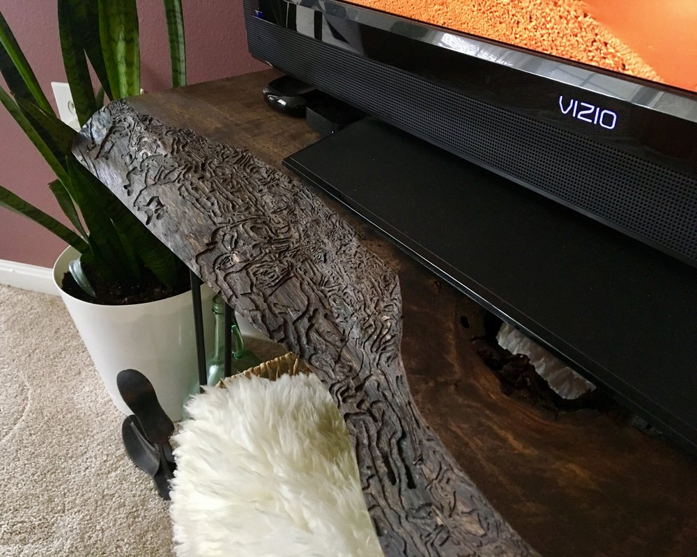 Live Edge Walnut Slab TV Stand