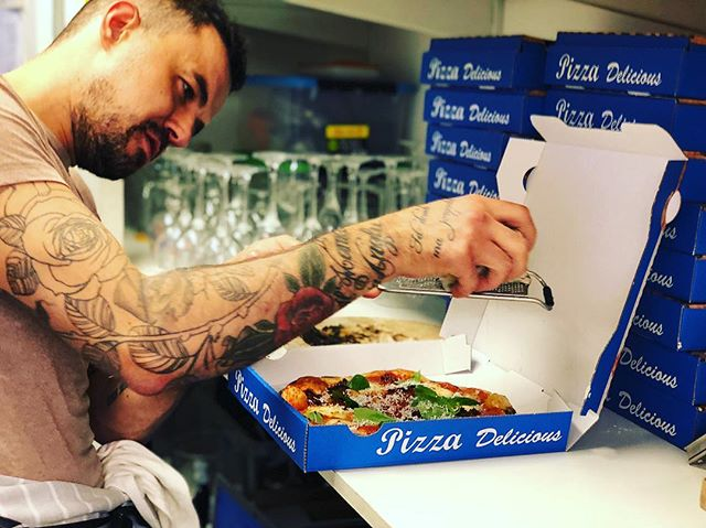 Flippin flying he's day off and @adam.hardiman pop in to have some fun at the deli making some pizza going back to da old school  #pizzafriday in #nw5 . . @kishkash1 don't be late 🙊❤️ . . @eatinguplondon @laurahardiman  Really love your bruv #x😁💯❤️