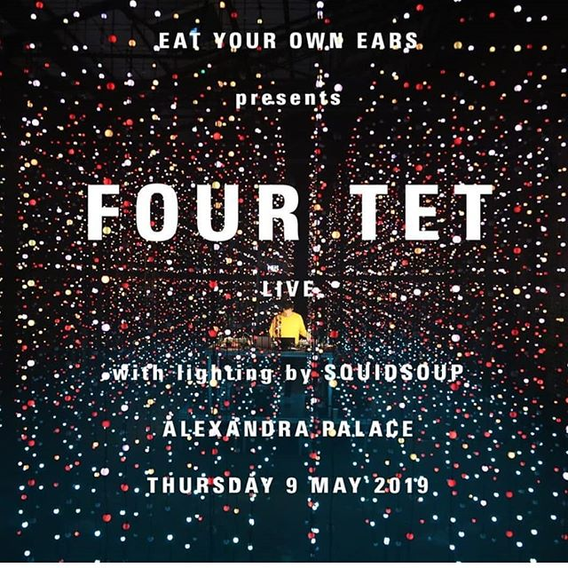 TODAY at 10AM tickets go on sale for @fourtetkieran at Ally Pally in March 2019 with infamous lights by @squidie.  You do not want to miss this one! Ticket link in bio.