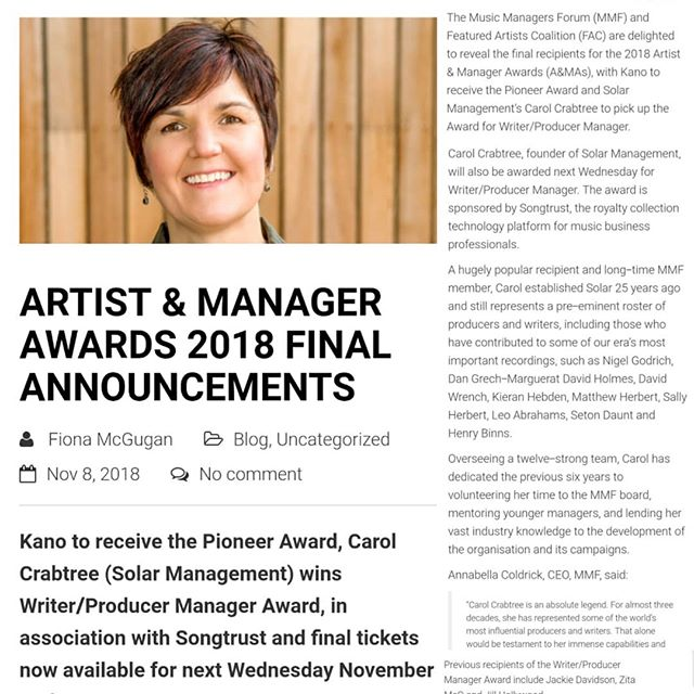 Honoured to be picking up the Writer/ Producer Manager Award at the @am_awards tomorrow!