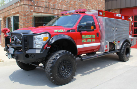 This is the proposed attack/brush truck. The smaller size Attack Truck allow access to terrain that can't be reached by our standard large fire trucks which are primarily used for structure fires.