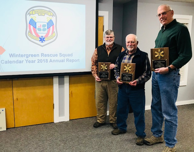 "Newest ""Life Member"" volunteers. Pictured from left to right: Curtis McIver, Houston Sorenson, and Mike Friedlein.  Not pictured: Dennis Casey"