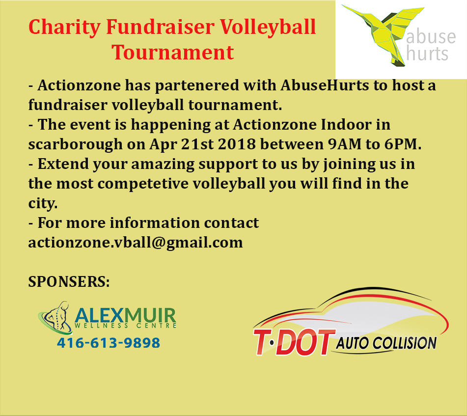 It's not too late to register  Email actionzone.vball@gmail.com for more information.   This is the first in a series of charity volleyball tournaments in support of Abuse Hurts throughout the year. Check back for more future tournament dates!