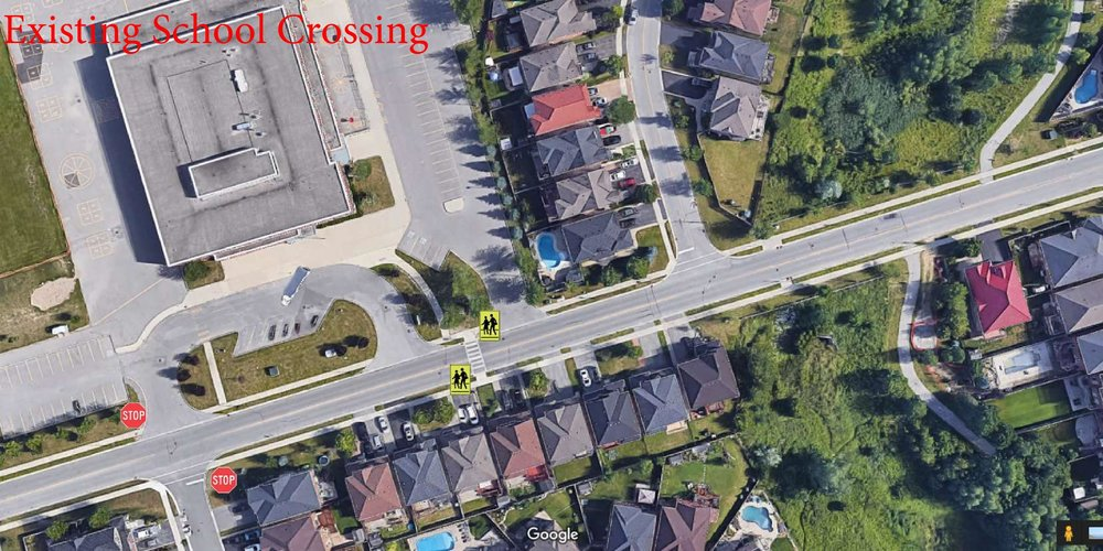 Map of existing cross walk and two way stop sign
