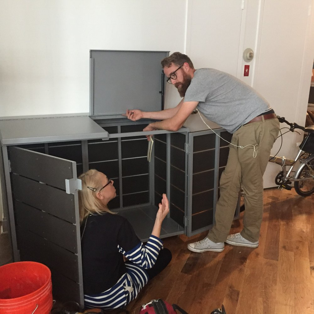 In response to demand for CitiBin outside of NYC, we developed a pre-fabricated kit. The CitiBin kit comes with pre-assembled panels and doors, and hardware for you to bolt it together. It comes flat-packed and is ready to assemble. Or if you're in NYC, we offer installation service.
