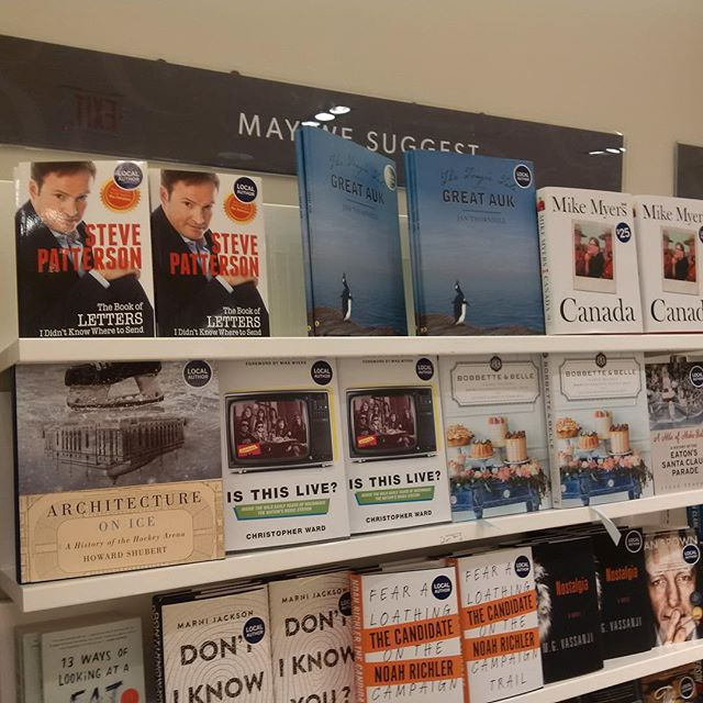 It's exciting to hear where readers say they're seeing 'Is This Live?' These pics are from the Indigo Spirit stores in Toronto. Nice neighbours – Chrissie Hynde and Mike Myers! (Link to purchase in bio.)