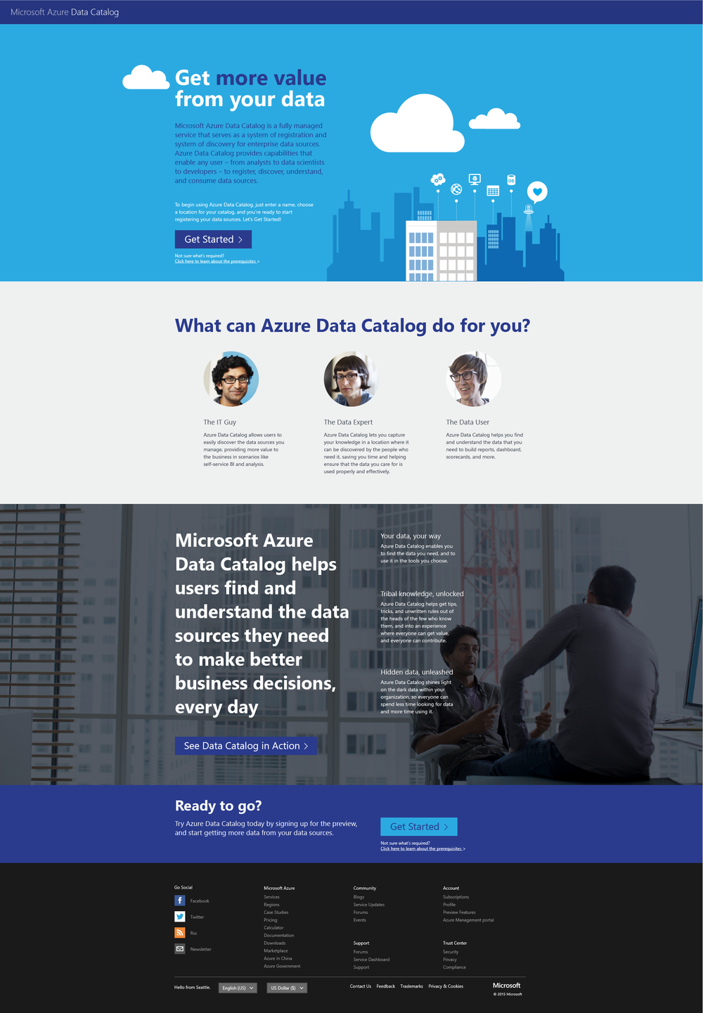 Microsoft Azure Data Catalog -  Final Product Page Design