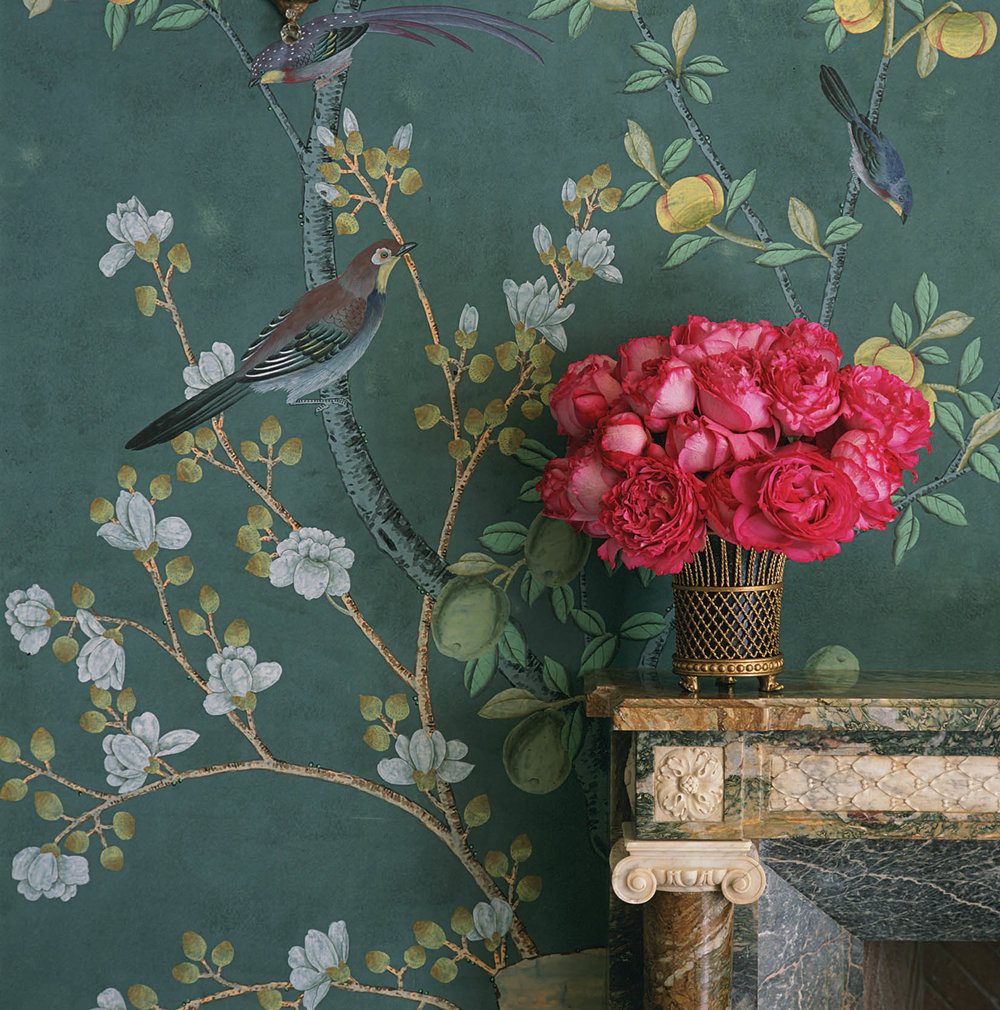 45. 'Jardinieres Citrus Trees' design in standard design colours on custom blue green Williamsburg painted silk. Interior design by Charlotte Moss..jpg