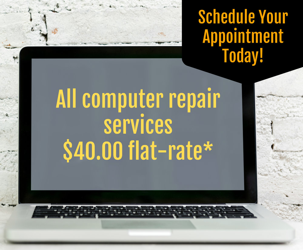*If you need software or a part, we will bill you only what we pay for it. If you need us to come to you, our trip charge is $10 within a 20-mile radius.