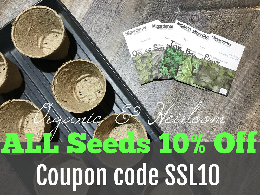 We order our seeds exclusively from MIGardener, a local, family owned and operated business and fellow YouTuber. Their seeds are all non-GMO and heirloom. And the deal @migardener gave our followers last year is still in effect for this year, all seeds are 99 cents PLUS an additional 10% off!!