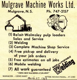 A copy of the original MMW advertisement from 1969 in The Hawkesbury Sun newspaper.