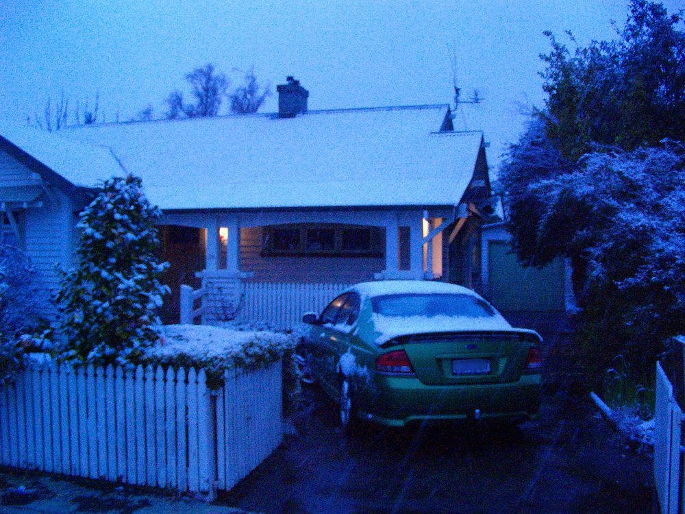 My house in a very rare snowfall