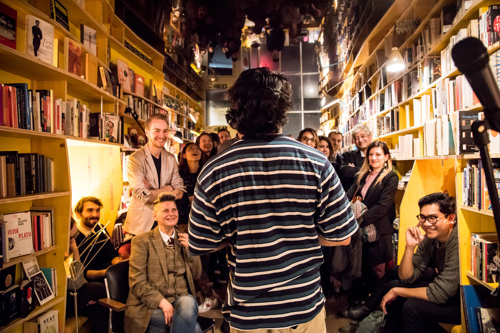 Usaama Minhas performs at January's Nowhere Nights at Libreria bookshop in Shoreditch.