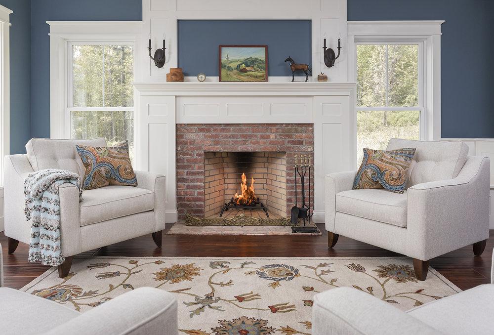 New Hampshire Barn House Fireplace Sitting