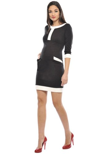 Isabella V-Neck Dress by Olian -X- Large, Black, Cream