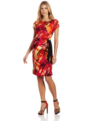 Three Seasons Maternity Women's Maternity Multi Print Side Tie Dress