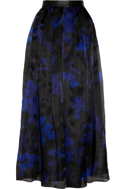 Milly - Leather-trimmed printed silk-organza maxi skirt