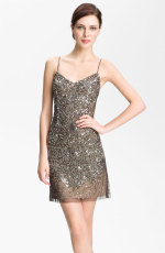 Adrianna Papell - Spaghetti Strap Embellished Mesh Dress