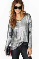 Nasty Gal - Elan Metal Coated Sweater