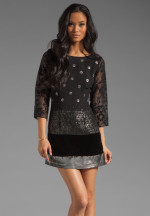 Tracy Reese - Dreaming Cocktail Mix 3/4 Shift Dress in Black/Gunmetal