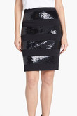 Halogen® Sequin Stripe Ponte Skirt (Regular & Petite)