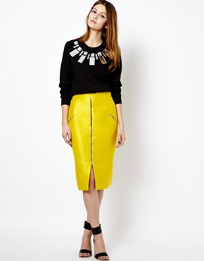 Markus Lupfer Zip Pencil Skirt in Neon Yellow
