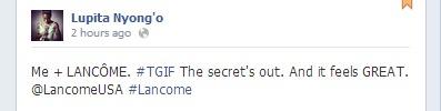 Lupita Nyong'O's Facebook staus, fri 4/4/14