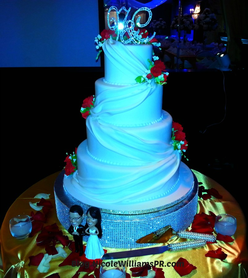 Four-tier white red velvet wedding cake
