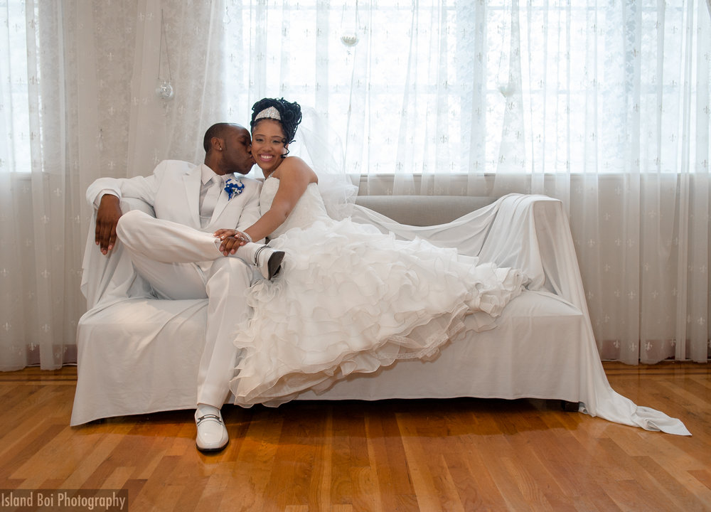 Bride and groom chilling after exchanging vows