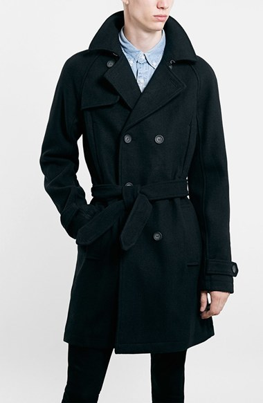 Topman Wool Blend Double Breasted Trench Coat