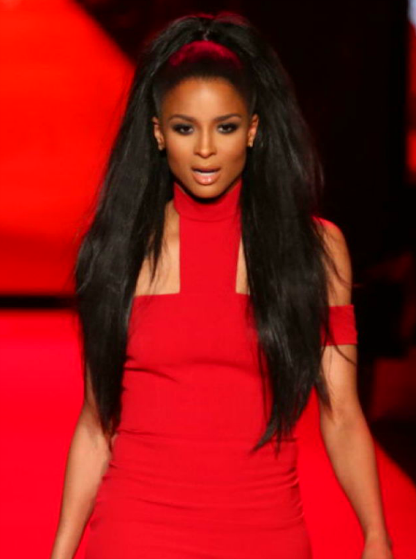 Ciara walks the Go Red for Women Red Dress Collection runway. #GoRed #NYFW
