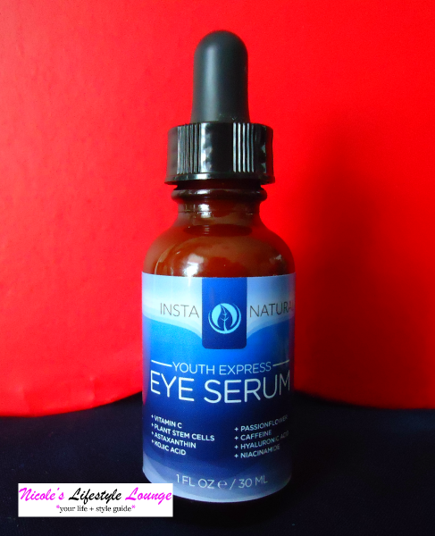 This powerhouse #InstaNatural youth express eye serum is formulated with Vitamin C, plant stem cells, passionflower and caffeine to counteract dark circles, wrinkles and puffiness of the eyes.