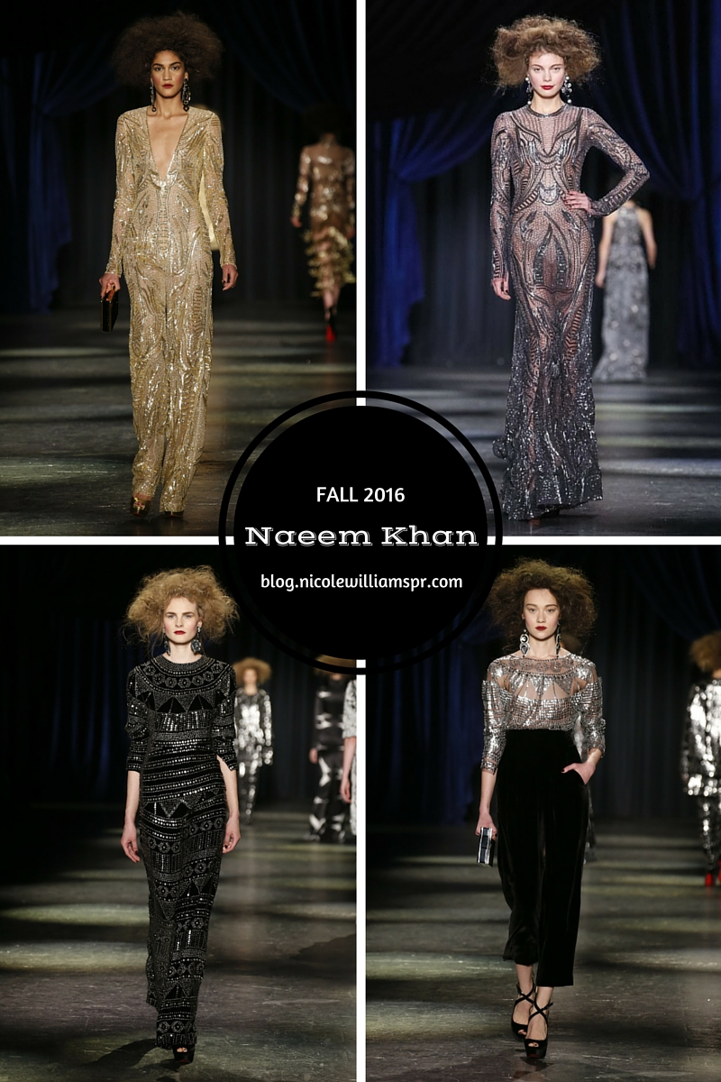 Naeem Khan Fall 2016 featured intricate yet gorgeous embellishments to bold prints, and embroidery.  #nyfw #fashion