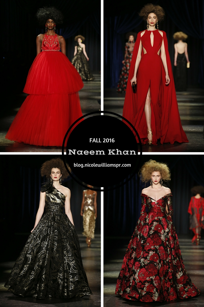 The grandeur of the Naeem Khan Fall 2016 collection. #nyfw #fashion