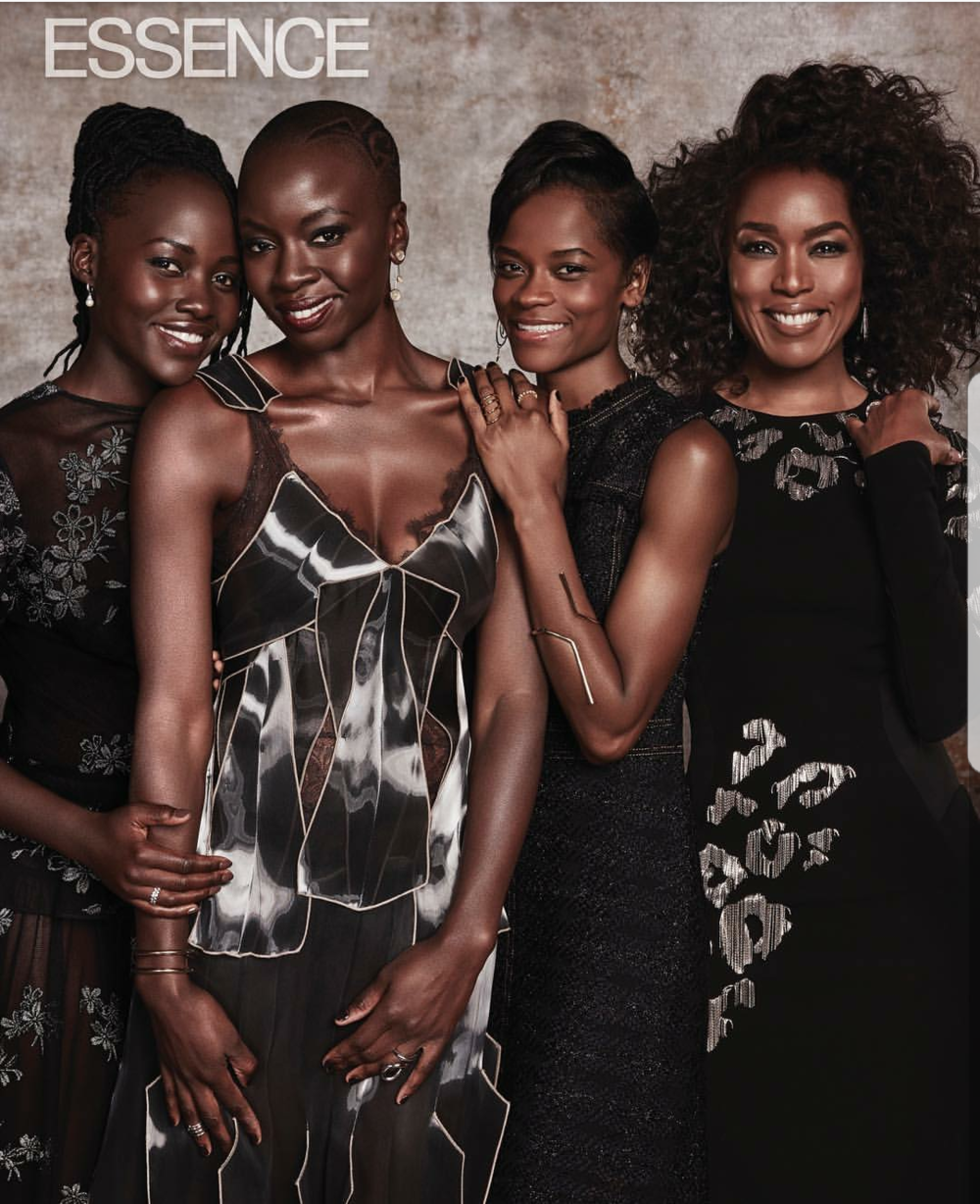 Nakia (Lupita Nyong'o),   Okoye (Danai Gurira),   Shuri (Letitia Wright),   Queen Ramonda (Angela Bassett) in Essence. Photo: Dennis Leupold