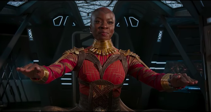 Okoye (Danai Gurira)     in Black Panther. Photo: Marvel (in-video screenshot).