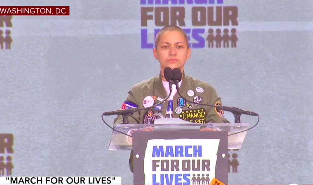 Credit: Emma Gonzalez during speech. CBSN/in-video screenshot