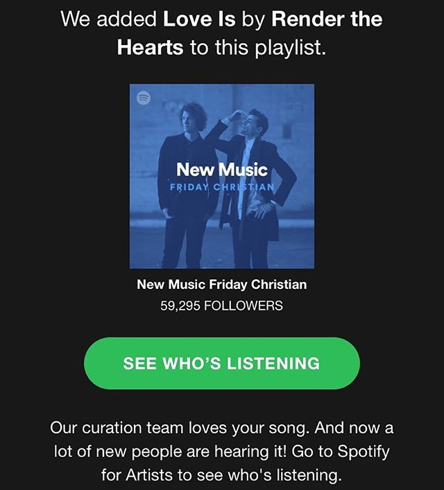 "Thanks @spotify for adding ""Love Is"" to the #newmusicfridaychristian playlist. We are honored!"