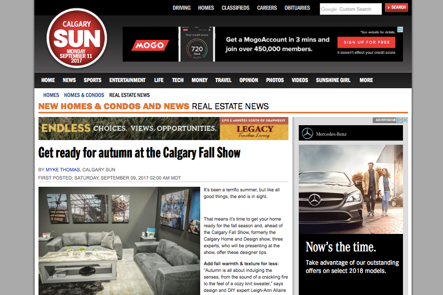 Calgary Sun, Get Ready for Autumn at the Calgary Fall Home Show