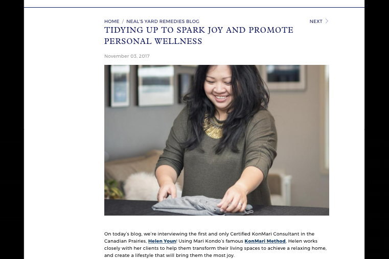 Neal's Yard Remedies Canada Blog, Tidying Up to Spark Joy and Promote Personal Wellness. Q&A with Helen Youn.