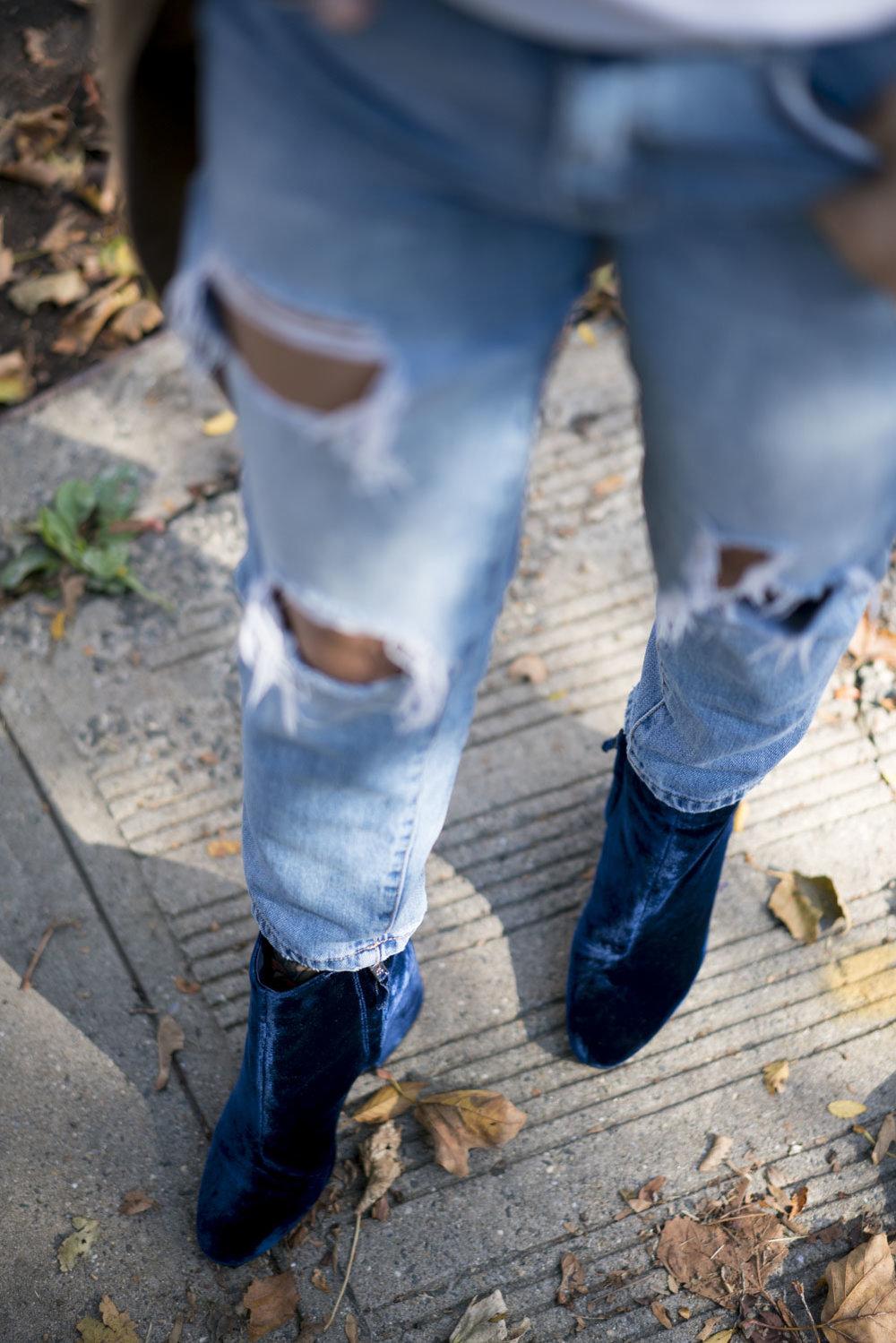 How to Wear Blue Velvet Booties