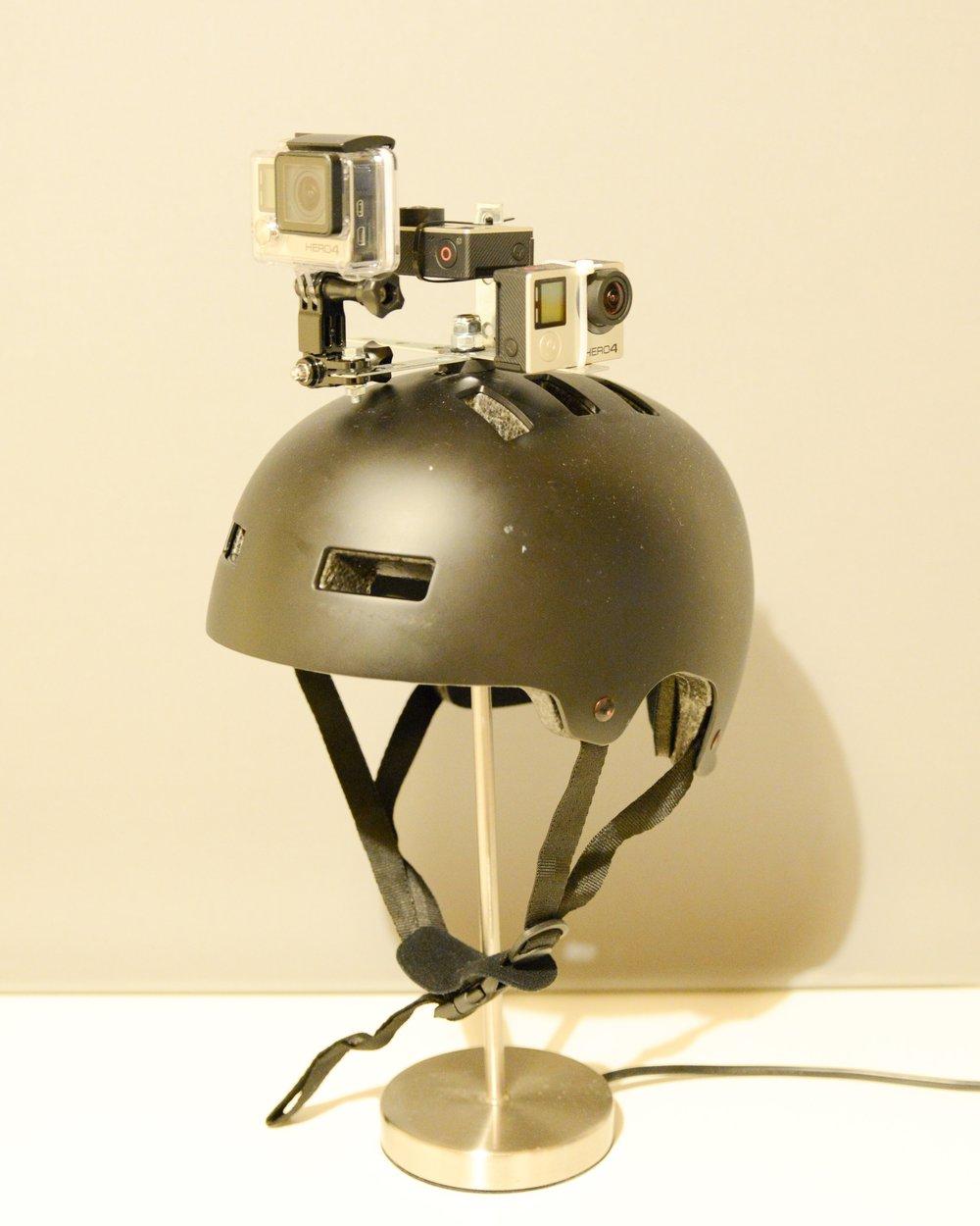 Three cameras attached a helmet following X Y Z axis.