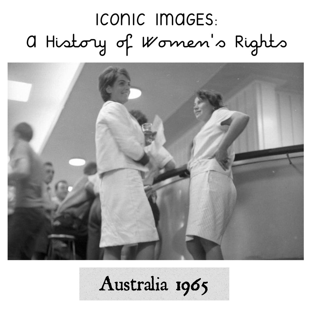 Women chain themselves to the bars in Australia, 1965 - In this photo we see Rosalie Bognor and Merle Thornton chain themselves to the bar at Brisbane's Regatta Hotel. Why? Well, many pubs across Australia had a special 'ladies lounge' for women to drink, as they were banned from entering public bars. And even then, sometimes women were allowed in the lounge only if were they accompanied by a man. The feminist movement was not willing to back down on this. These ladies defiantly left the lounge in pubs, marched into public bars and demanded drinks. Chaining themselves to the bars was a popular form of protest to get their point across.Eventually the the government relented and passed a legislation allowing women to drink at any public bar they wished to.