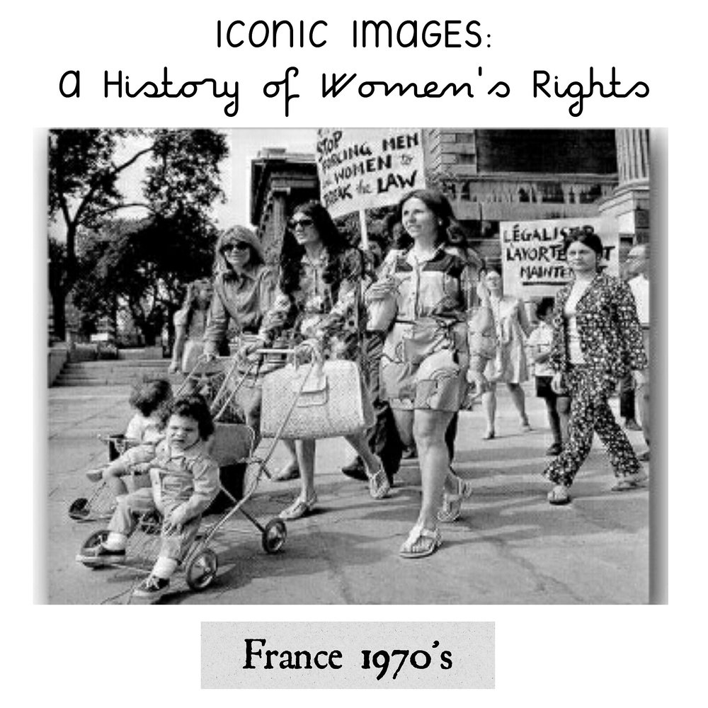 France, 1970's - Submitted by Juliet Dixon from France:The struggle for the right to contraception and abortion was at the heart of feminist struggles of the 1970's in France. Here we see women demonstrating for the right to abort. A manifesto written by Simone de Beauvoir (the most iconic feminist by far, and companion to philosopher Jean Paul Sartre) called the