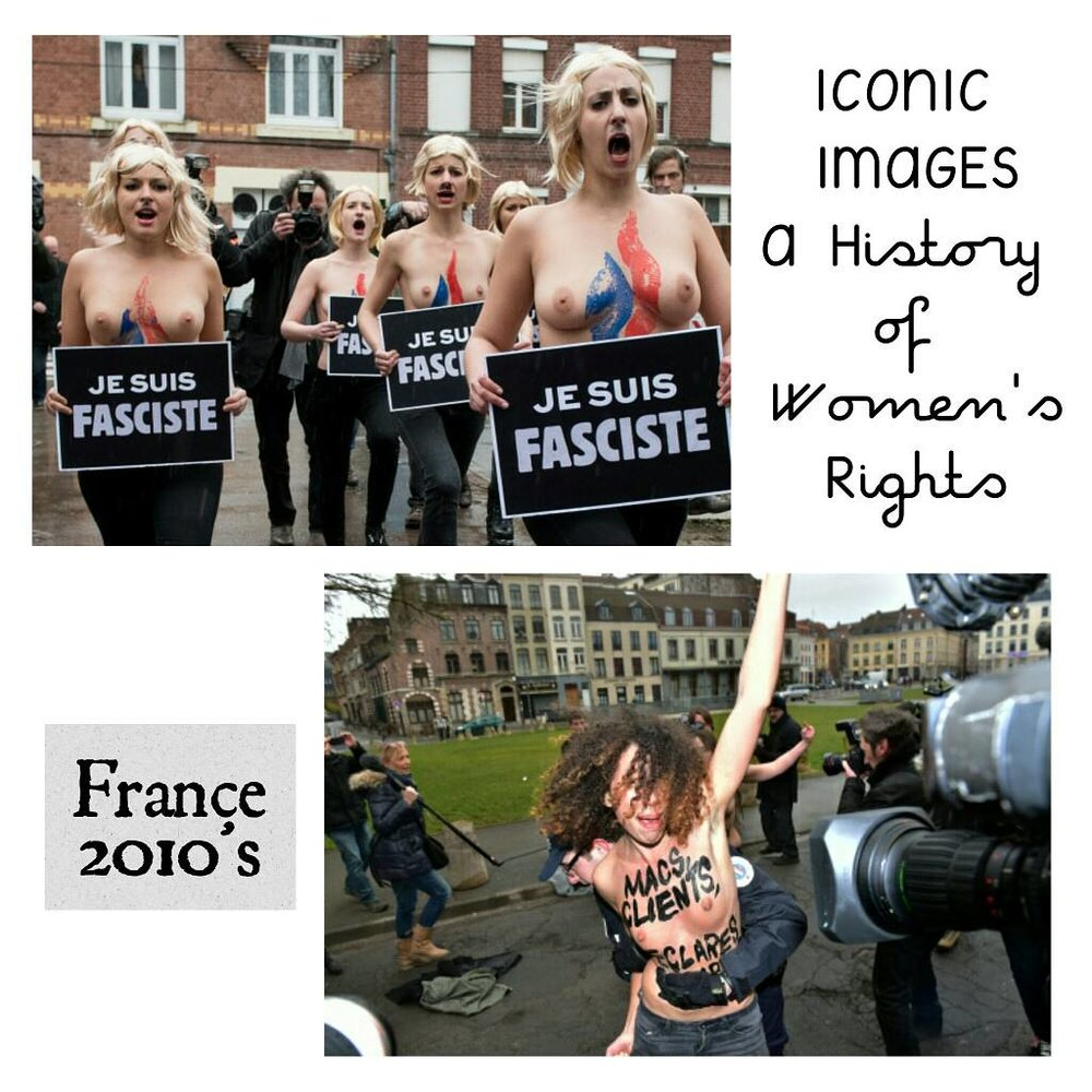 Punk Anti-Capitalist Feminism, France 2010's - Submission from Juliet Dixon from France:FEMEN is a feminist protest group, one that is quite controversial and doesn't quite have consensus among feminists [but feminist streams are diverse, rich, and beautiful right?] They are most known for demonstrating bare-chested anywhere they see fit. The top left image is a protest against Marine Le Pen, the candidate for the far right in the North of France.The bottom right image is from a protest against Dominique Strauss-Kahn, the prior IMF head, who assaulted a cleaning lady in his hotel in New York a few years earlier.
