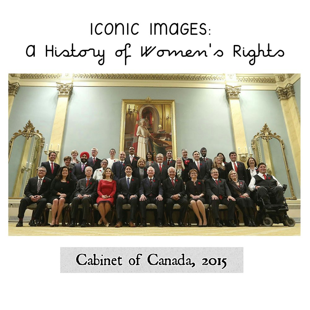 Cabinet of Canada, 2015 - Submitted by Brittny Anderson from Canada: Canada is now represented by 15 female and 15 male appointed cabinet members. 2015 marks the first time gender parity has been achieved among ministers at the federal level. Previously, the closest the country had reached to equal representation were the cabinets of 2003 and 2008, with women making up 29% of the total. Before this landmark election, only approximately one in four cabinet ministers were women.