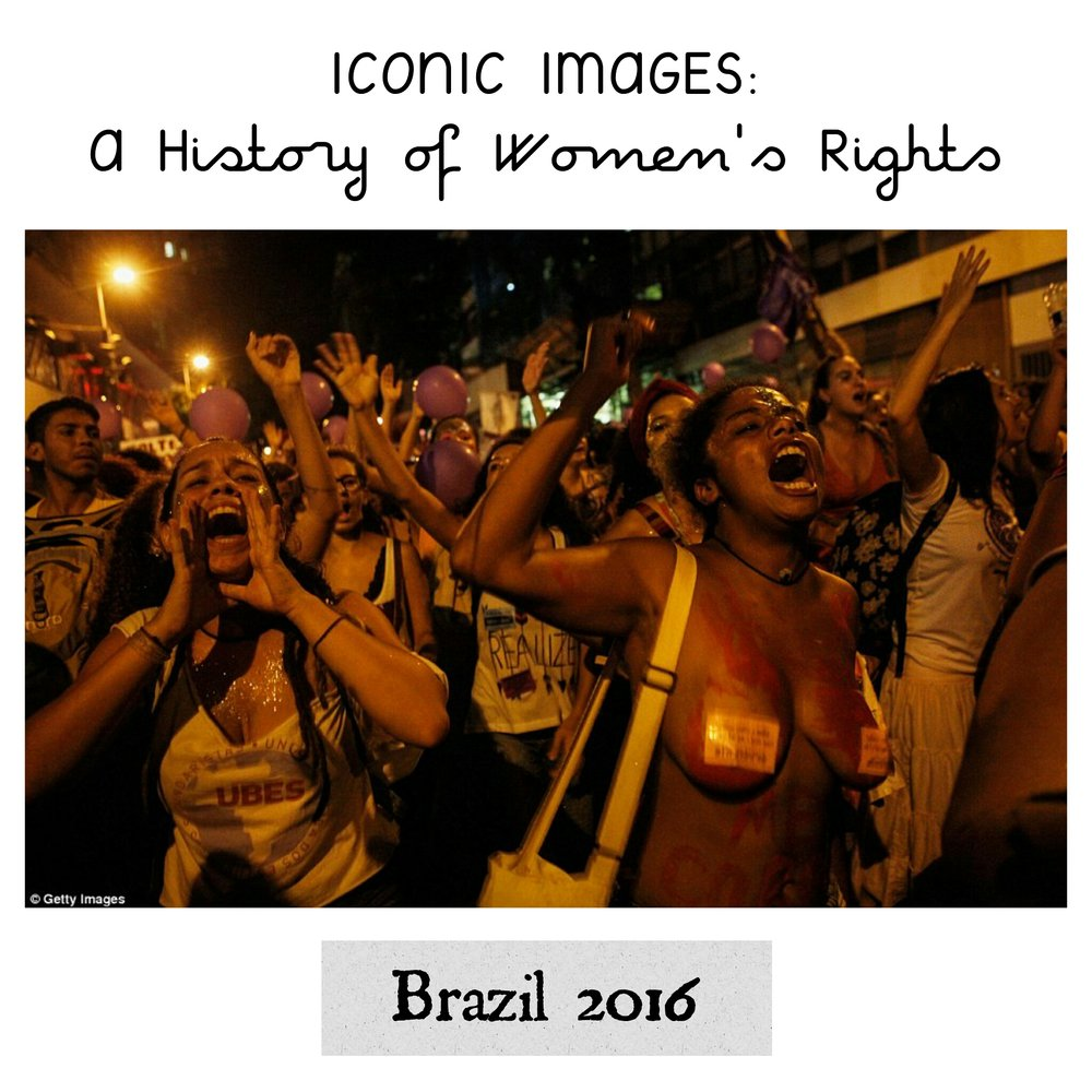 - In this photo, thousands of activists marched in Rio de Janeiro, demanding rights including a change in Brazilian law which only allows abortion in cases of rape or dire health threats.