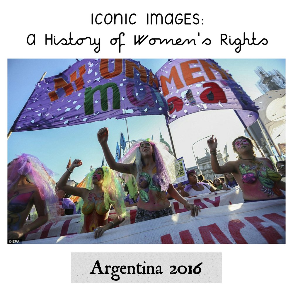 Latin American Women Resist on International Women's Day 2016 - On International Women's Day in 2016, thousands of people across capital cities in South America took to the streets to highlight a number of human rights issues ranging from gender equality, violence against women, women's rights and abortion laws. Many of the protestors used their bodies as a canvas to fight for their cause, some walking topless with slogans painted across their chests and stomachs. The following is a series of photos from South America.In this photo, demonstrators march in Buenos Aires to highlight the issue of femicide- the murder of women due to their gender.