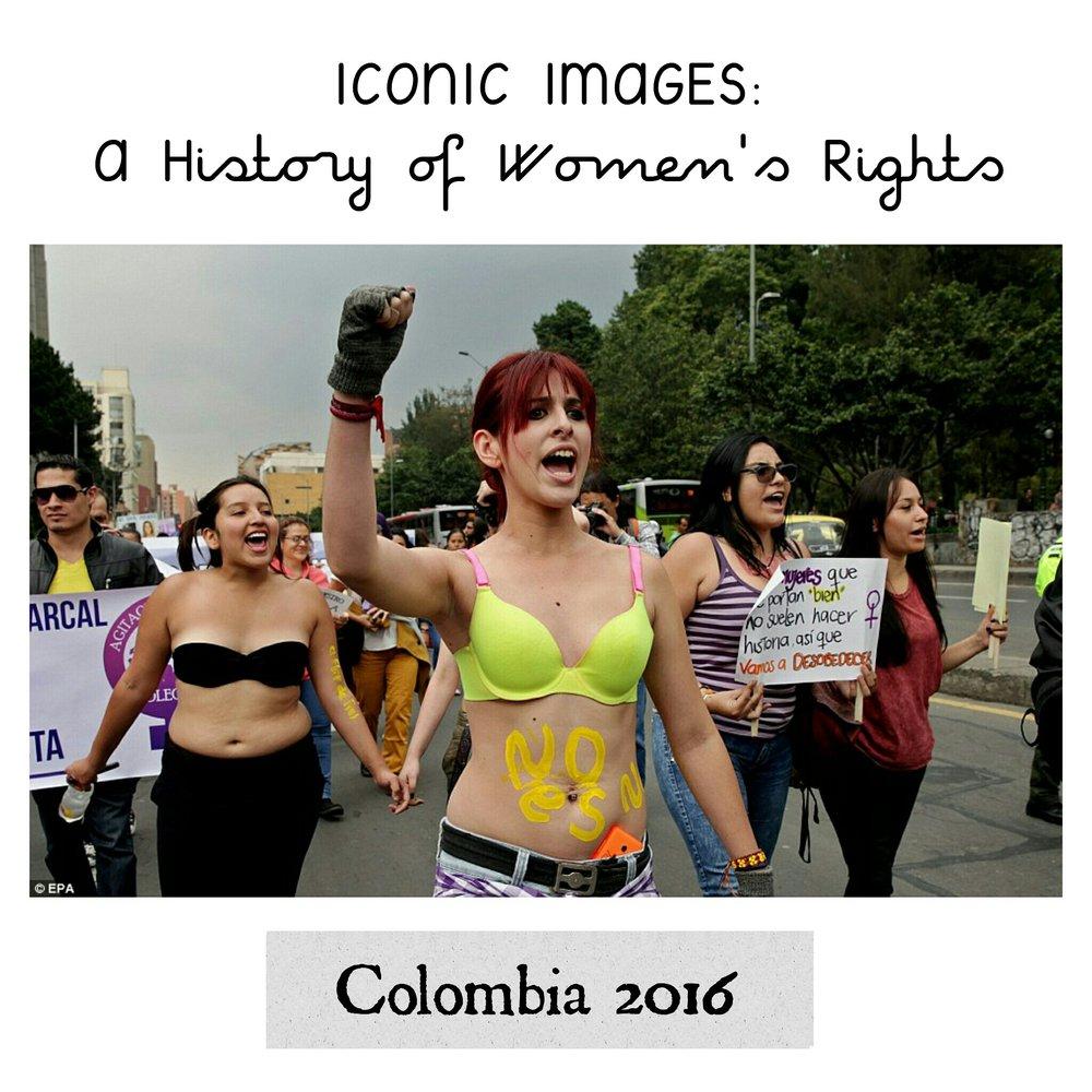 - Women take part in a Slut Walk across Bogota.